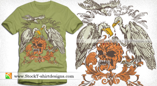Vector Skull with Eagle and Floral Shirt Design