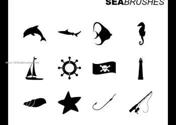 Fish and Starfish Silhouettes