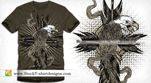 Eagle with Sunburst and Halftone T-shirt Design Illustration
