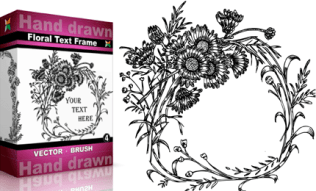 Hand Drawn Floral Text Frame Set.4 | Vol : 4