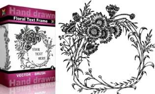 Hand Drawn Floral Text Frame Set.4 | Vol : 4