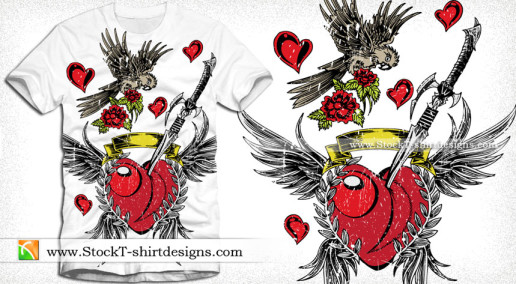 Lovely Winged Heart with Bird Sword and Flower Vector Tee Design