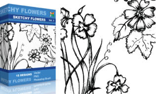 Sketchy Flowers Set.1 | Vol : 3