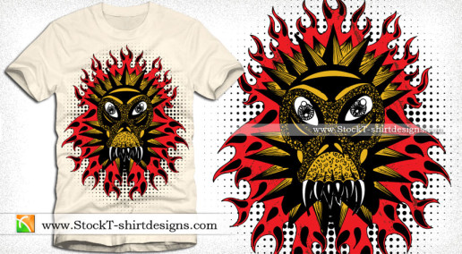 Demon Fire Flame Vector T-shirt Design Illustration