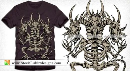 Vector T-shirt Design with Dragon Skeleton
