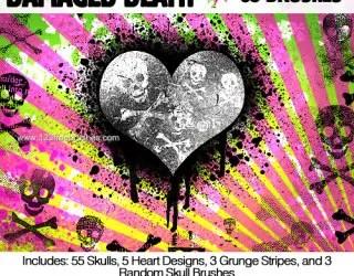 Crossbones Skull – Heart – Grunge Stripes