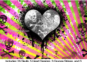 Crossbones Skull – Heart – Grunge Stripes