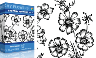 Sketchy Flowers Set.1 | Vol : 10