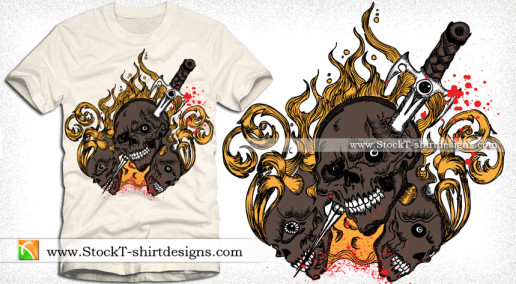 Skull with Fire Flames Vector T-shirt Design
