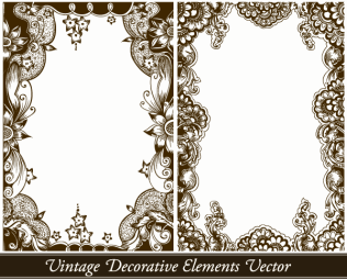 Vintage Decorative Floral Frames Vector