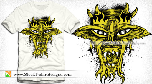 Demon Face Vector Tee Graphic Design