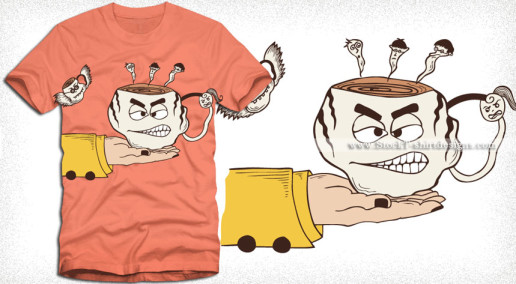 Hand Holding a Funny Cartoon Coffee Cup T-shirt Design Vector