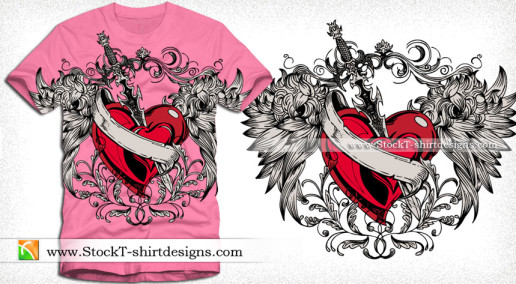 Vector Winged Heart with Sword and Ribbon T-shirt Design