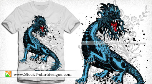Dragon with Floral Vector T-shirt Design