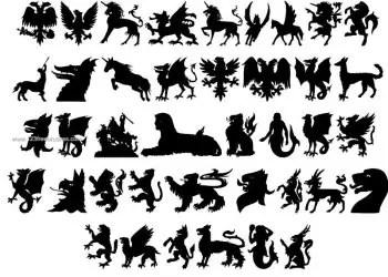 Mythology Silhouettes Unicorn – Griffin – Pegasus – Double-Headed Eagle – Mermaid