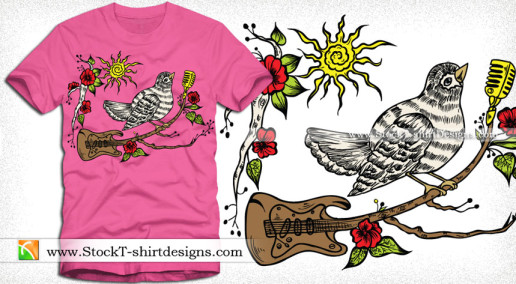 Vector Wooden Guitar with Singing Bird and Flower Tee Design