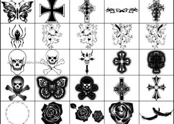 Gothic manga brushes for Photoshop – Skull – Feather – Cross – Rose Flowers