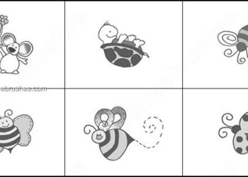 Cartoon Tortoise and Beetle Brushes