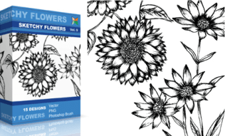 Sketchy Flowers Set.1 | Vol : 9