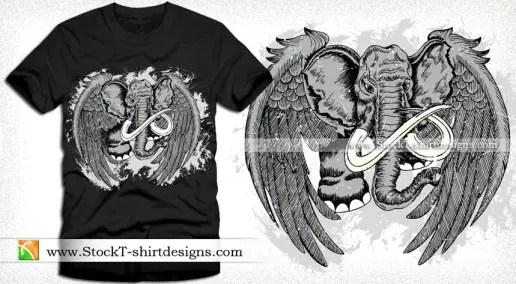 Winged Elephant Vector T-shirt Design