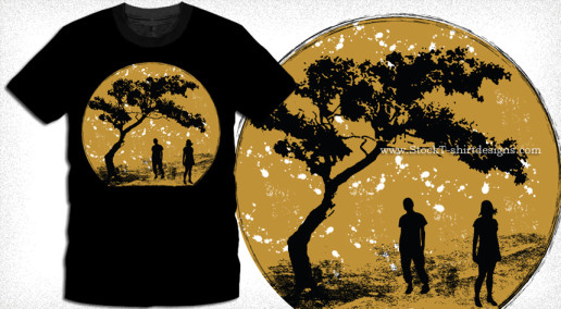 Vector T-shirt Design with Silhouettes of Young People Standing Under a Tree