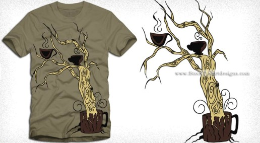 Coffee Tree Vector T-shirt Design