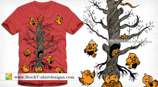 Vector T-shirt Design with Cute Bird Cartoon Tree
