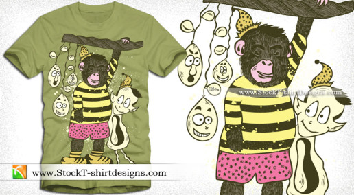 Cute Cartoon Bear T-shirt Design Vector