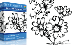 Sketchy Flowers Set.1 | Vol : 1