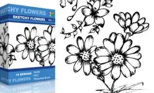 Sketchy Flowers Set.1 | Vol : 1