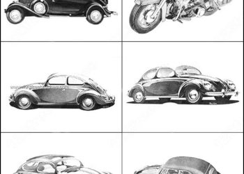Vintage Cars and Motorbike Brushes Photoshop