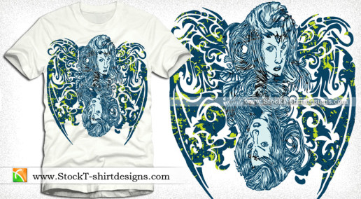 Beautiful Woman with Floral Vector T-shirt Design