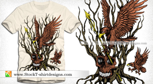 Apparel Vector T-shirt Design with Eagle Tree and Skull