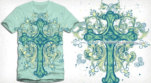 Vector Cross T-shirt Design with Floral Ornaments