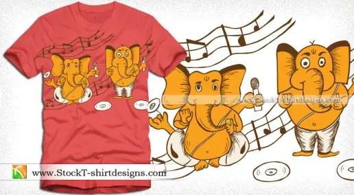 Cartoon Vinayagar with Music Notes Vector T-shirt Design