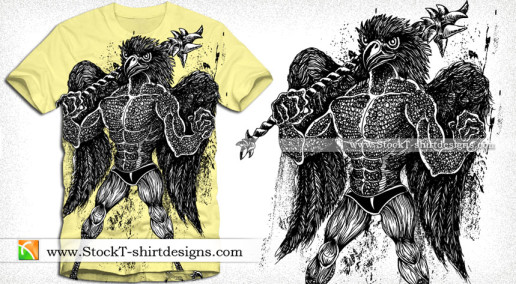 Vector T-shirt Design with Demon Bird