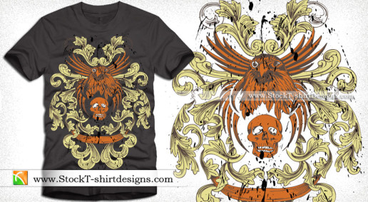 Vector T-shirt Design with Eagle Skull and Floral