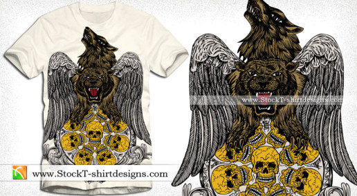 Vector Tee Design with Wolf Tiger Wings and Skull