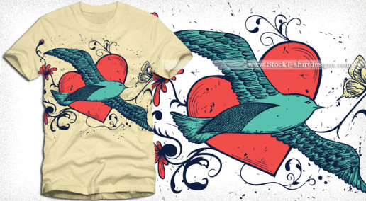 Flying Bird with Heart Vector Tee Shirt Design