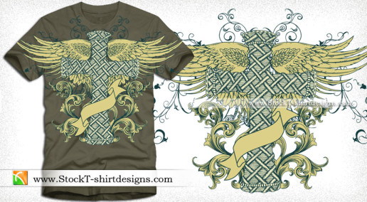 Vector Tee Design with Winged Cross Floral and Banner