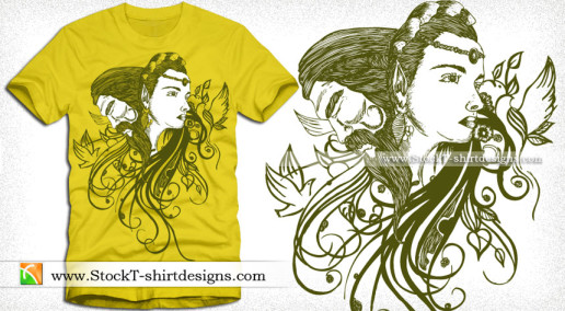 Vector T-shirt Design with Woman and Man