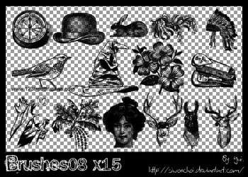 Vintage Flowers – Deer Head – Birds – Clock – Woman – Headdress