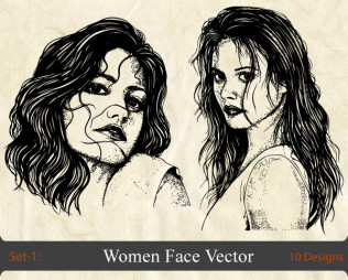 Women Face Vector -