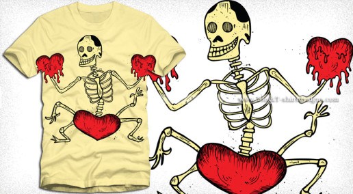 Dancing Skeleton with Heart T-Shirt Design Vector Art