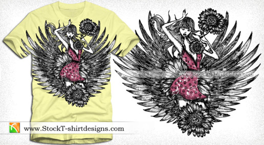 Beautiful Girl with Wings and Flower Vector T-shirt Design