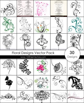 Free Floral Designs Vector Pack