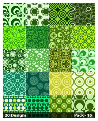 20 Green Seamless Geometric Circle Pattern Vector Pack 15