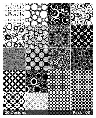 20 Black and White Circle Pattern Background Vector Pack 03