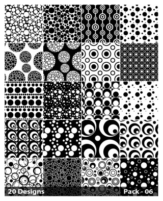 20 Black and White Seamless Circle Background Pattern Vector Pack 06