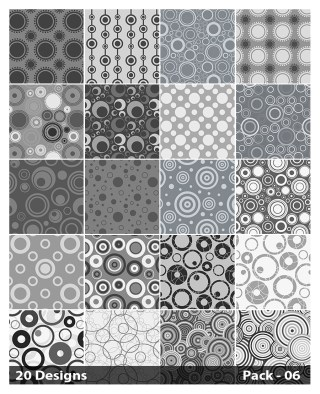 20 Grey Circle Pattern Vector Pack 06